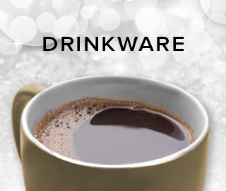 Holiday theme background with picture of cup. Click to shop for drinkware.